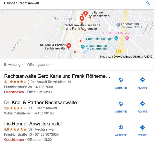 Beispiel Local SEO / Balingen