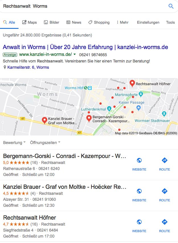 BeispielLocal SEO / Worms